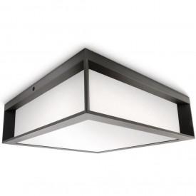 Aplica de perete Philips Skies, E27, 2x 14W, 230V, tip bec fluorescent, culoare gri inchis, materia aluminiu, forma patrat
