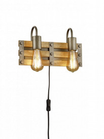 Aplica Trio KHAN 205570267, excl. 2x E27, max. 28W, 230V, IP20, montare pe perete, nu include becul, dimensiuni 35x20cm, culoare corp nichel antic, material corp metal, culoare abajur lemn, material abajur lemn natural;