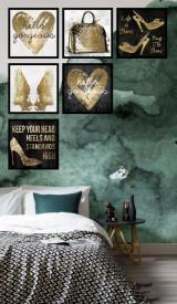 Set 6 tablouri decorative Gold Heart