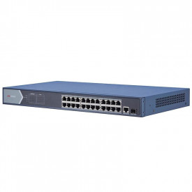 Switch 24 porturi POE Gigabit Hikvision DS-3E0526P-E; L2, UNMANAGED; 24 × Gigabit PoE ports, 1 × Gigabit RJ45 port, and 1 × Gigabit SFP fiber optical port; porturile 1-24 alimentare POE maxim 30W per port; buget total switch : 370W; PoE power managemen