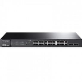 Switch TP-Link T1600G-28PS, 24 porturi Gigabit, 4 porturi comboRJ45/SFP ,POE+, buget 180W, Rackmount, Smart, Tag-based VLAN,STP/RSTP/MSTP, IGMPV1/V2/V3 Snooping, 802.1P Qos, Rate Limiting, PortTrunking, PortMirroring, SNMP, RMON