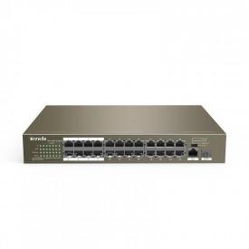 Tenda 24-Port 10/100Mbps + 1ge/SFP, 24 10/100Base-TX ports(Data/Power), 1 10/100/1000Base-T port(Data), 1 1000Base-X SFP port, 8.8 Gbit/s, Packet Forwarding Rate: 6.55Mpps, PoE supply management: Port 1 to Port 16 support IEEE802.3at/af POE standard, Stan