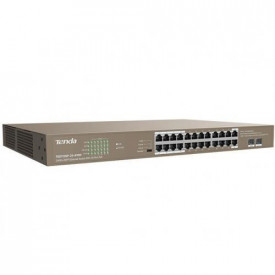 Tenda TEG1126P-24-410W, 24GE+2SFP Ethernet Switch With 24-Port PoE, unmanaged, Network standard: IEEE802.3, IEEE802.3u, IEEE802.3ab, IEEE802.3z, IEEE802.3x, IEEE802.3af/at, 24 * 100/1000 Mbps, 2 * 1000 Mbps, Switching Capacity 48Gbps, Single port: AF: 15.