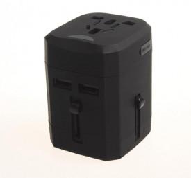 Adaptor de priza AC Serioux, universal pentru toate regiunile lumii, siguranta fuzibila interschimbabila pentru protectie la supratensiune, curent intrare 110-230V, curent iesire max 230V-1380W, 110V-660W, 2 porturi USB, putere iesire max 2.5A, max 2.1A p