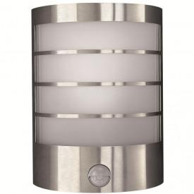 Aplica exterior cu senzor Philips Massive Calgary, E14, 12W, 230V, IP44, material inox, culoare argintiu