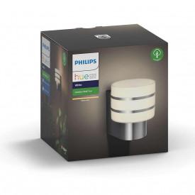 Aplica LED de exterior Philips Hue Tuar, E27, 9.5W (60W), 220-240V, ambianta alba calda 2700K, 806 lumeni, durata de viata 25.000 de ore, clasa energetica A+, IP44, culoare argintiu, material aluminiu