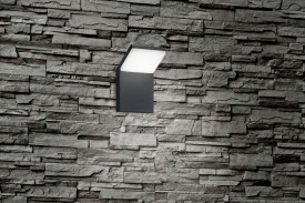 Aplica LED integrat pentru exterior Trio Pearl, 9W, 230V, lumina calda 3000K, 900 lumeni, durata de viata 25.000 de ore, clasa energetica A, IP54, dimensiuni 10x16x10cm, material fonta aluminiu/ plastic, culoare antracit/ alb
