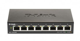 Switch D-Link DGS-1100-08PV2, 8 porturi Gigabit, PoE 802.3af, PoE budget 64W, Capacity 16Gbps, 4K MAC, Desktop, Easy Smart,Layer 2, fanless, metal.
