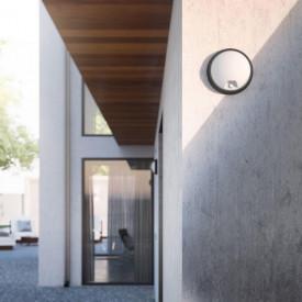 Aplica LED integrat pentru exterior Philips myGarden Eagle, cu senzor miscare, 1x3.5W, 320 lumeni, IP44, culoare negru, material plastic, forma rotund