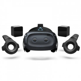 """HTC Cosmos Elite Virtual Reality Headset (Kit), 99HRT002-00; Display: 1440 x 1700 pixels per eye (2880 x 1700 pixels combined); Screen size (inches): 3.4""""; contents: 2 x VIVE Base Station 1.0, Cosmos Elite headset, 2 x VIVE Controller (with lanyard)."""