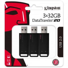 Kingston USB Flash Drive DataTraveler® 20, 3pack, 32GB, USB 2.0, Negru