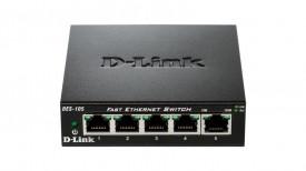 Switch D-Link DES-105, 5 porturi 10/100Mbps, desktop, fara management, metal, negru