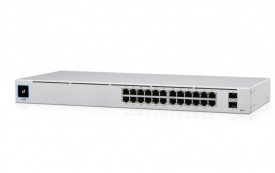 Ubiquiti UniFi Switch, USW-24-POE, 802.3at PoE Gigabit Switches with SFP, Auto-Sensing IEEE 802.3af/at PoE, SFP Ports for Gigabit Fiber Connectivity, Fanless, Silent Thermal Cooling, 24 RJ45 ports with 2 SFP ports.
