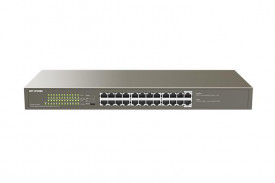 IP-COM 24-Port Gigabit Ethernet Switch with 24-Port PoE, G1124P-24-250W; Standard and Protocol: IEEE 802.3/IEEE 802.3u/IEEE 802.3ab/IEEE 802.3x/IEEE 802.3af/IEEE 802.3at; 24x 10/100/1000Base-T ports(Data/Power); Exchange capacity: 48Gbp; Packet Forwarding