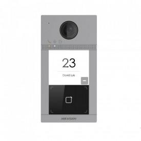 Post de exterior videointerfon IP Hikvision DS-KV8113-WME1/Flush; WIFI; montaj incastrat, 1 x buton de apelare( pentru o singura familie- permite apelarea a mai multor monitoare de interior); camera video 2MP True WDR ( unghi vizualizare: Horizontal: 129Â