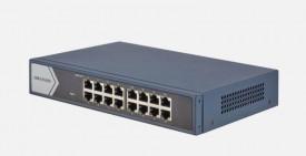 Switch 16 porturi Gigabit, Hikvision DS-3E0516-E(B), fara management, 16 x 1000M Ethernet port, layer 2, RJ45 port, Full duplex, MDI/MDI-X adaptive, IEEE 802.3, IEEE 802.3u, IEEE 802.3x, MAC Address Table: 8 K, Internal Cache: 4.1 Mbits, material metal, d