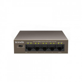 Switch TENDA TEF1105P-4-63W, 5-Port 10/100Mbps Desktop PoE Switch with 4Port POE, Switching Capacity: 1.0Gbps, IEEE802.3af/at, up to 60W