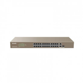 Tenda 24-Port POE Switch, 24 * 10/100 Mbp, 2 * 10/100/1000, 1 * 1000 Mbp, Standard&Protocol IEEE802.3, IEEE802.3u, IEEE802.3ab, IEEE802.3z, IEEE802.3x,IEEE802.1p, IEEE802.1q, IEEE802.1w, IEEE802.1d, IEEE802.3af/at, Switching Capacity 8.8 Gbps, Power Consu