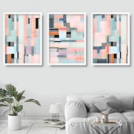 Set 3 tablouri decorative Geometric Pink
