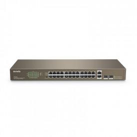 Switch TENDA TEF1026F 24-Port, 24*10/100M and 2*10/100/1000M auto- negotiation, RJ45 ports (Auto MDI/MDIX), 2*1000M SFP solts (Combo), Switching Capacity8.8Gbps, Input: AC:100-240V 50/60 Hz.