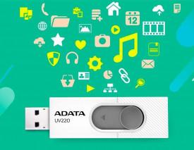 USB Flash Drive ADATA UV220 16Gb, white/gray retail, USB 2.0