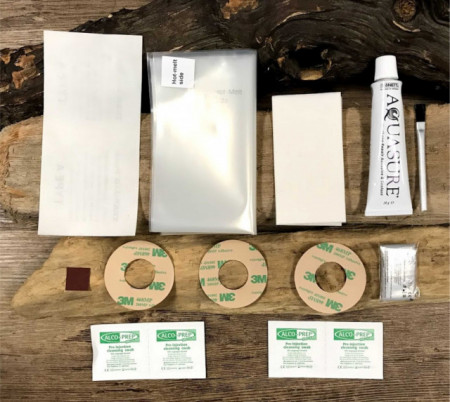 Kitesurfing bladder and valve repair kit