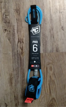 Creatures Pro Surf Leash. 6' Ankle. Blue/Clear.