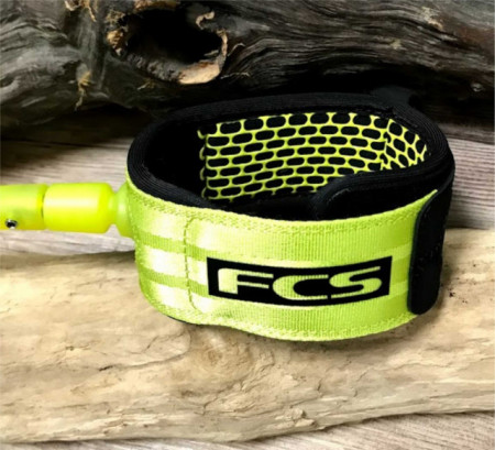 FCS surfing leash ankle cuff in acid colour