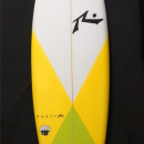 Yellow and Green Rusty muffin top surfboard