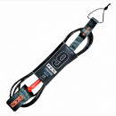 FCS surf leash 9ft long in charcoal and blood orange