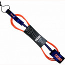 FCS surfing leash, 7ft in blood orange and navy colour