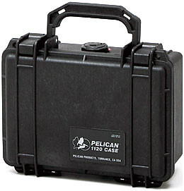 Pelican 1120 hard carry case. Black. (18.4 x 12.1 x 7.8 cm) PRICE INCLUDES VAT & SHIPPING. images
