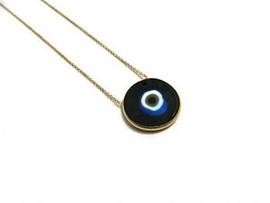 Turkish jewelry black evil eye silver necklace.
