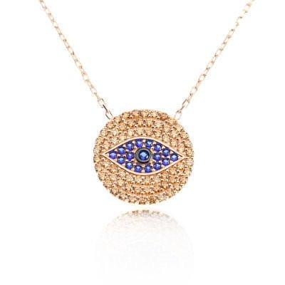 Round Gemstone Evil Eye Turkish Necklace Wholesale Silver 925