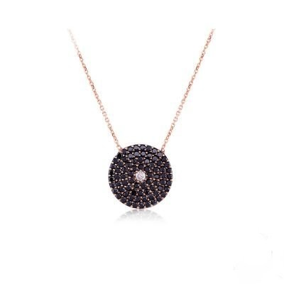 Wholesale Sterling Silver 925 Turkish Round Black Evil Eye Necklace