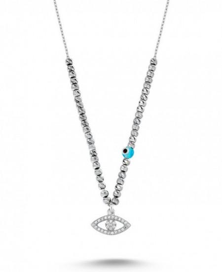 Wholesale Turkish Bead CZ Evil Eye Necklace