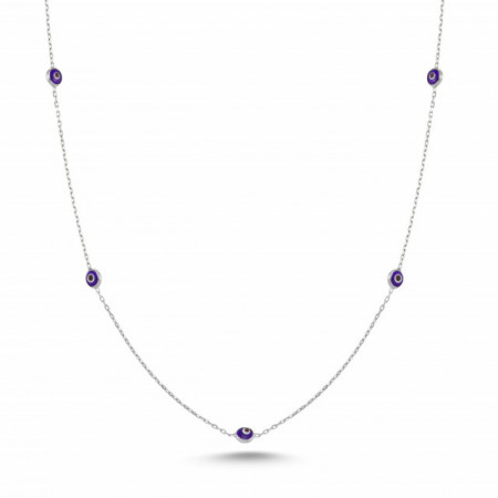 Beaded Wholesale Small Evil Eye Turkish Dark Blue Silver Necklace