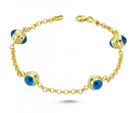 Blue Glass Rolo Chain Wholesale Evil Eye Silver Bracelet
