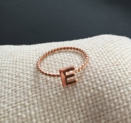 Letter E Initial Alphabet Turkish Rings Wholesale Rose Gold Silver