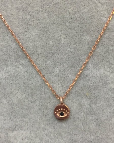 Mini Evil Eye Wholesale Necklace Rose Gold Plated Pendant