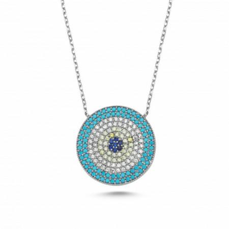 cz wholesale evil eye silver necklace