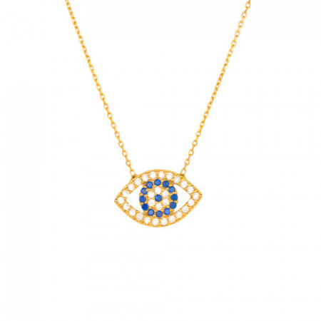 Wholesale Turkish evil eye silver yellow gold necklace.