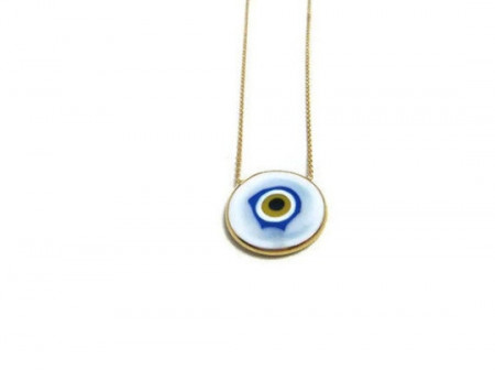 Wholesale White Evil Eye Sterling Silver Round Necklace Pendant