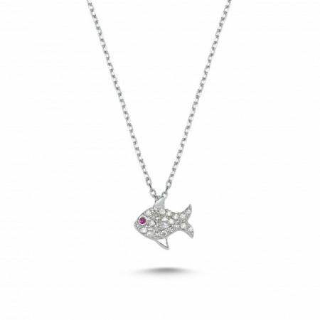 Fish Design Cz Necklace Silver 925