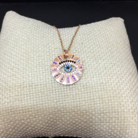 Round Evil Eye Wholesale Necklace Rose Gold Plated Pendant