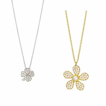 Wholesale 925 Silver Flower Necklace