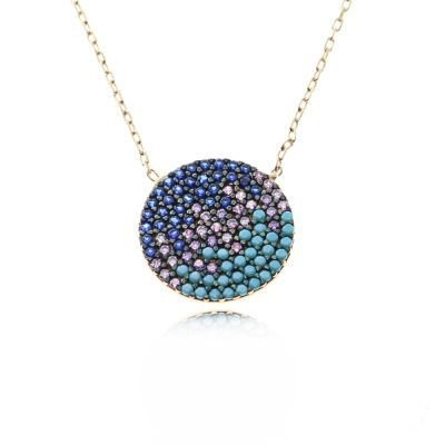 Wholesale Sterling Silver 925 Turkish Multicolor Round Necklace