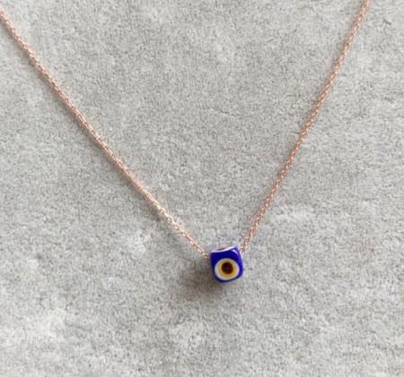 Wholesale Turkish Blue Evil Eye Glass Necklace Silver 925