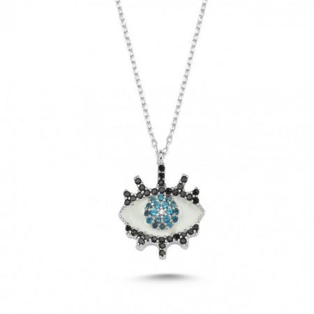 Wholesale Turkish Blue Evil Eye Necklace Silver 925