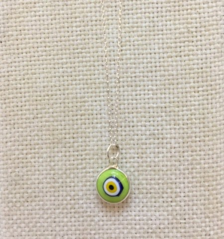Green Evil Eye Glass Turkish Beads Wholesale Silver Necklace